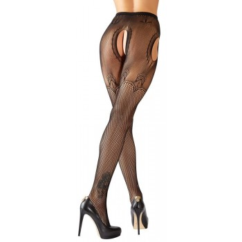 Collant Aperto Plus Size  Hosiery Sheer Lace Black